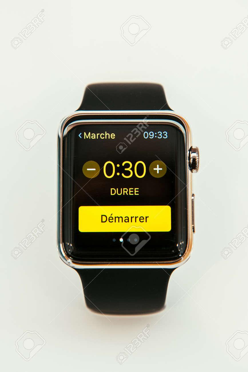 paris france apr 10 2015 new wearable computer apple watch
