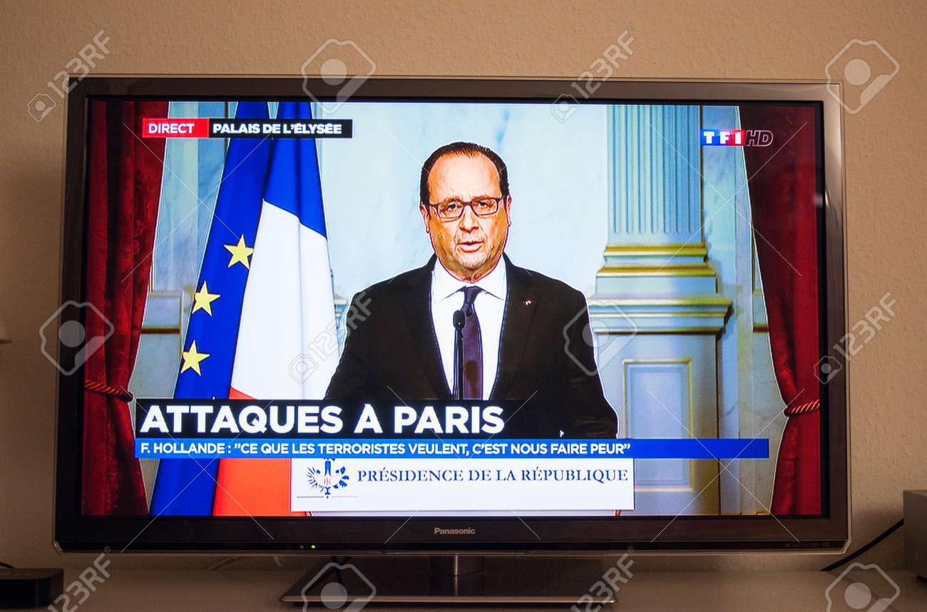 PARIS, FRANCE - NOV 13, 2013: Francois Hollande at French Television