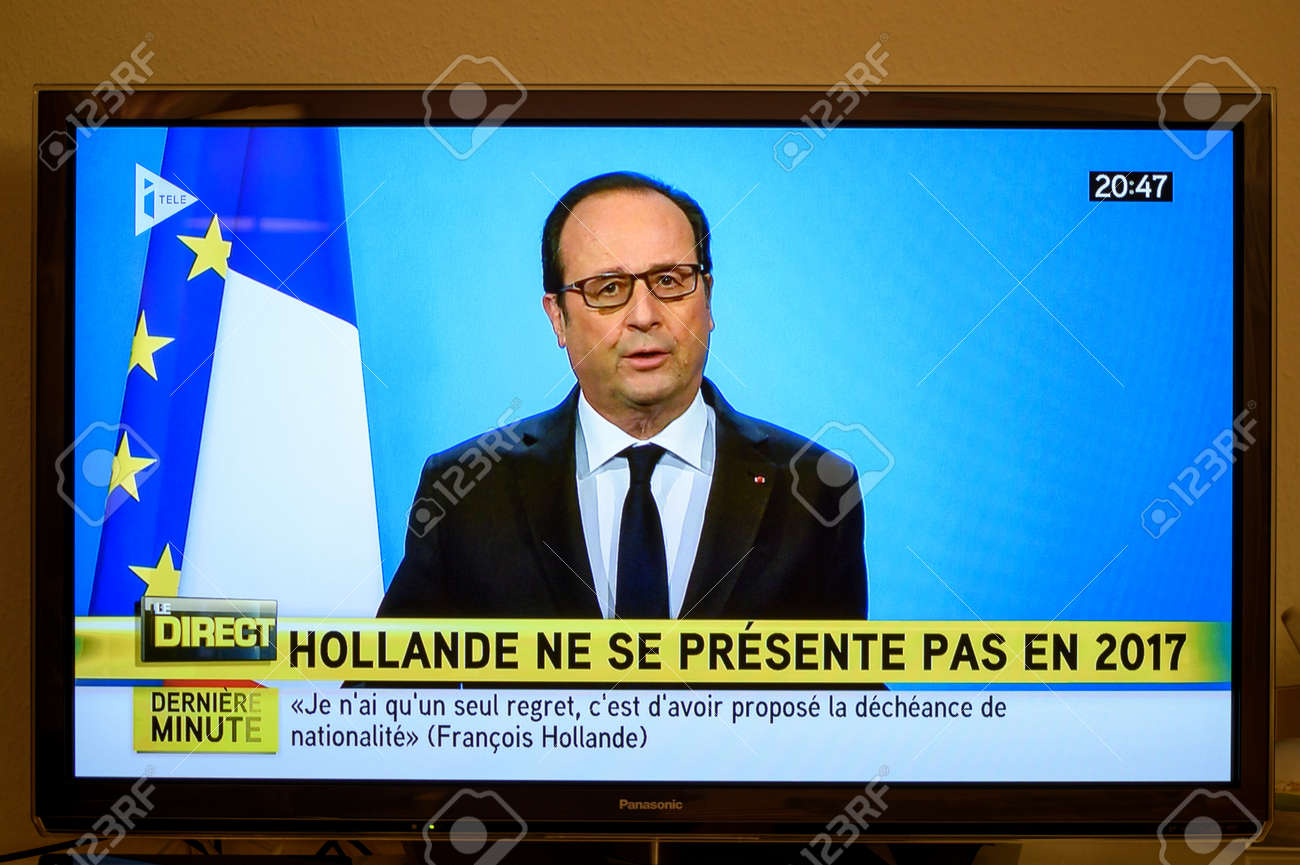 PARIS, FRANCE - DEC 1, 2016: Francois Hollande at French Television