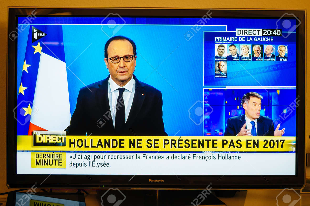 PARIS, FRANCE - DEC 1, 2016: Francois Hollande at French Television