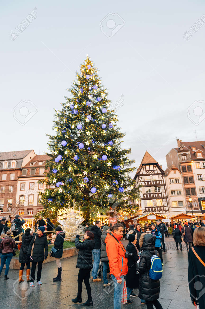 Majestic Christmas.Strasbourg France 9 Dec 2016 Majestic Christmas Tree Seen