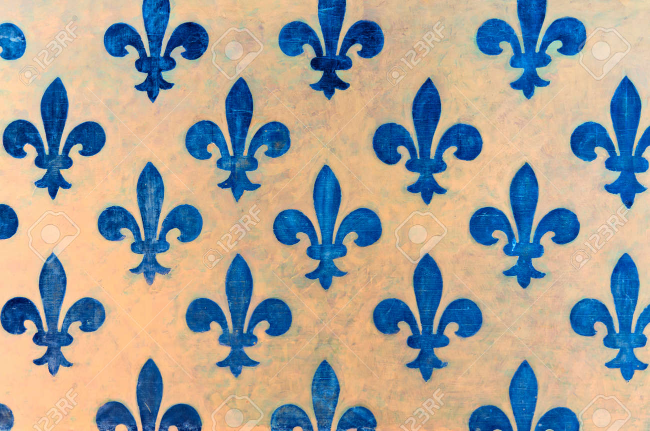 Majestic Blue Fleur-de-lis Pattern Painted On A Wall In Palazzo ...