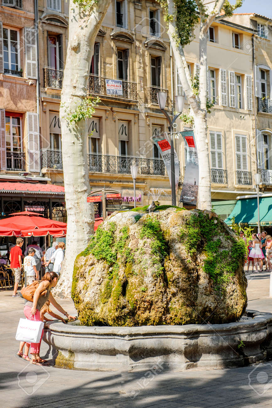 Stone Aix En Provence aix-en-provence, france - jul 17, 2014: mother and daughter having..