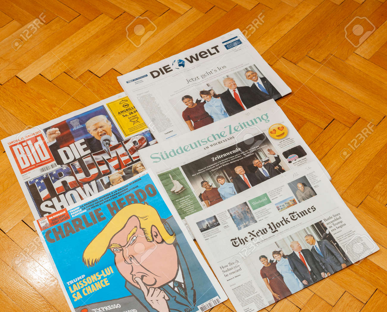 PARIS, FRANCE - JAN 21, 2017: Major international newspaper journalism