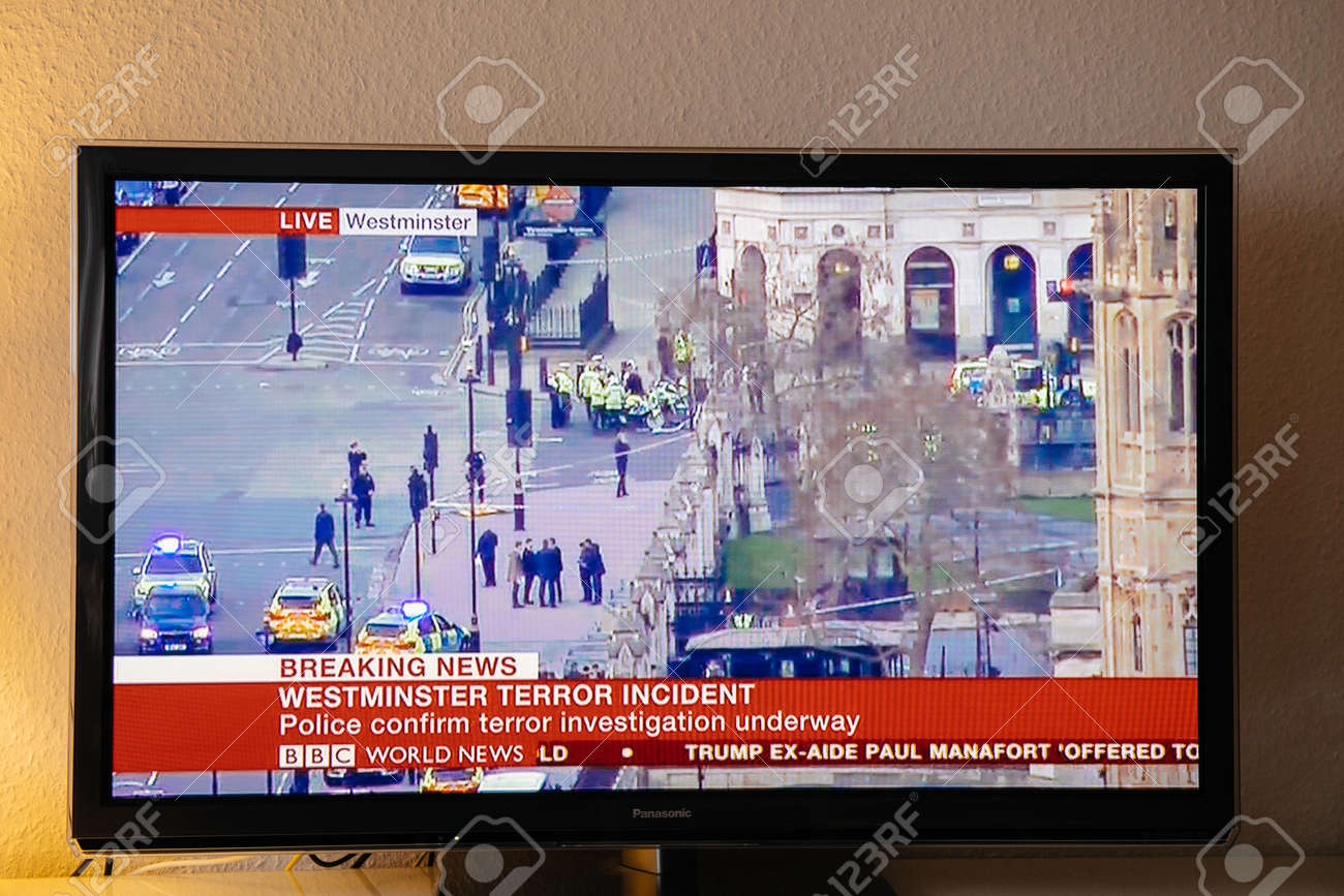 PARIS, FRANCE - MARCH 22: BBC News TV channel reporting live