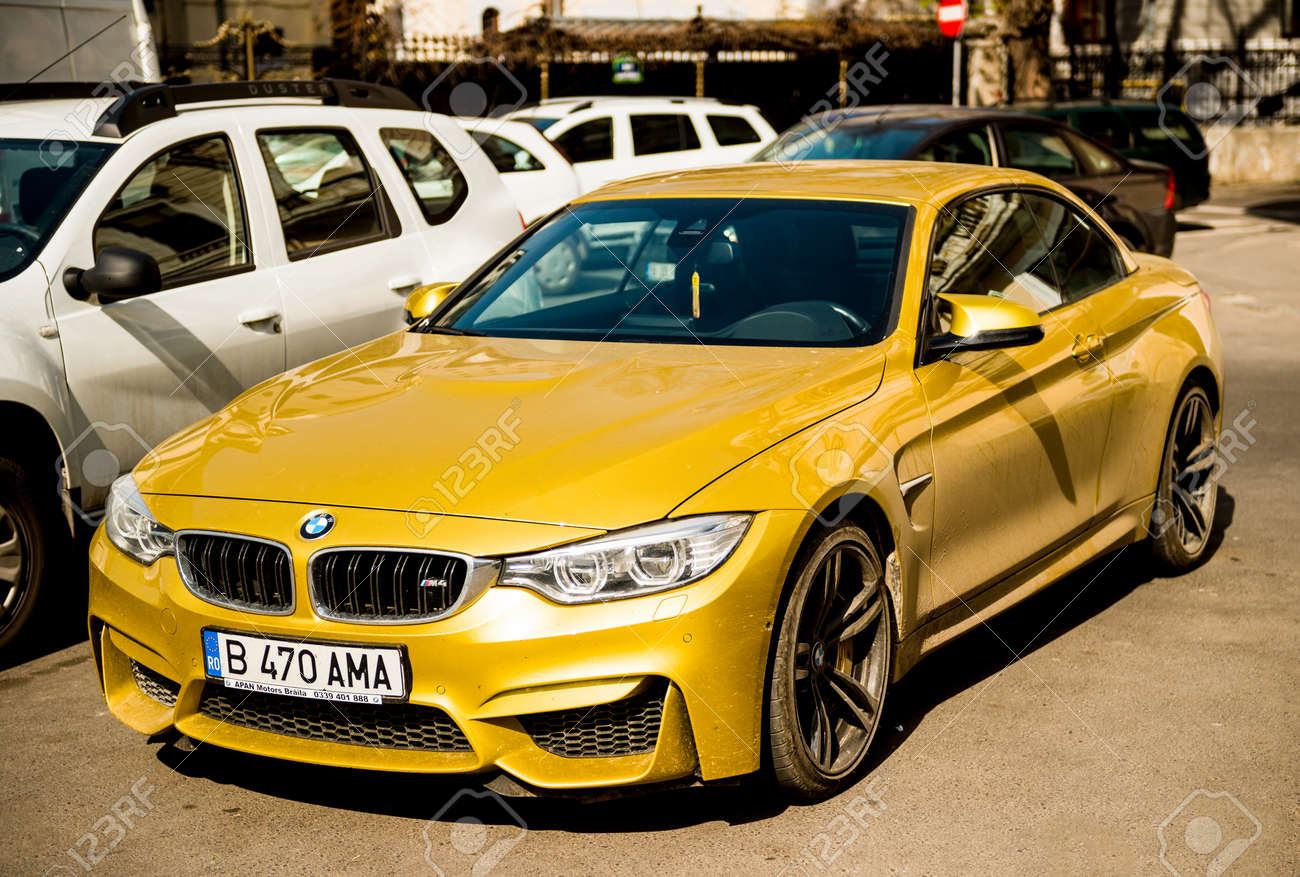 Bucharest Romania Apr 1 2016 Luxury Yellow Bmw M4 Sport Stock