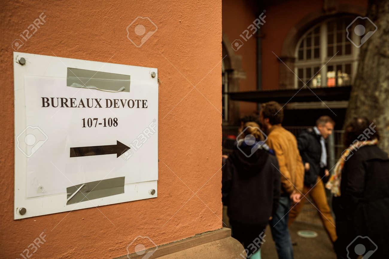 Strasbourg france apr 23 2017: bureaux de vote voting section