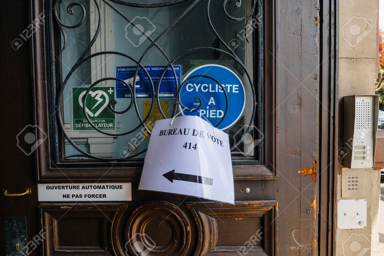 Strasbourg france apr bureau de vote sign voting