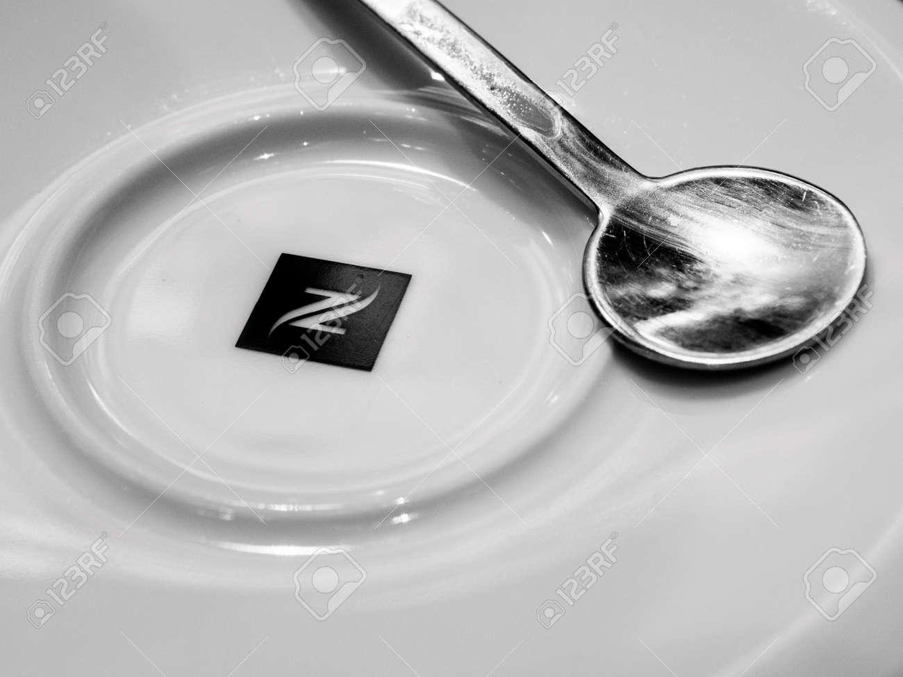 strasbourg france apr 27 2017 nespresso logotype on coffee