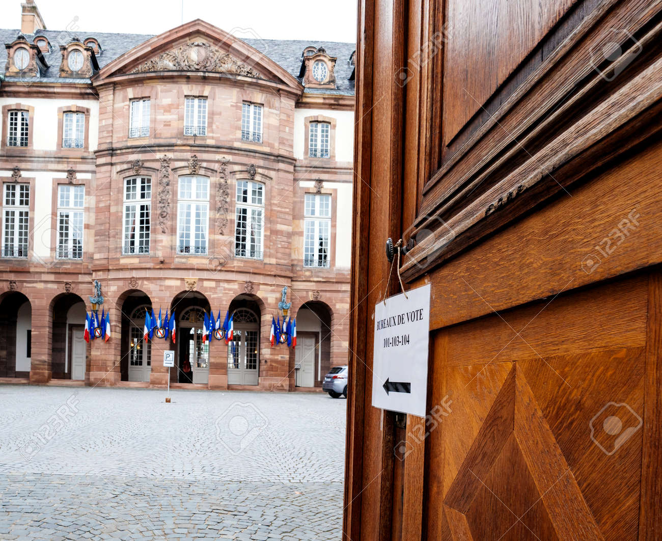 Strasbourg france may 7 2017: french polling station bureau