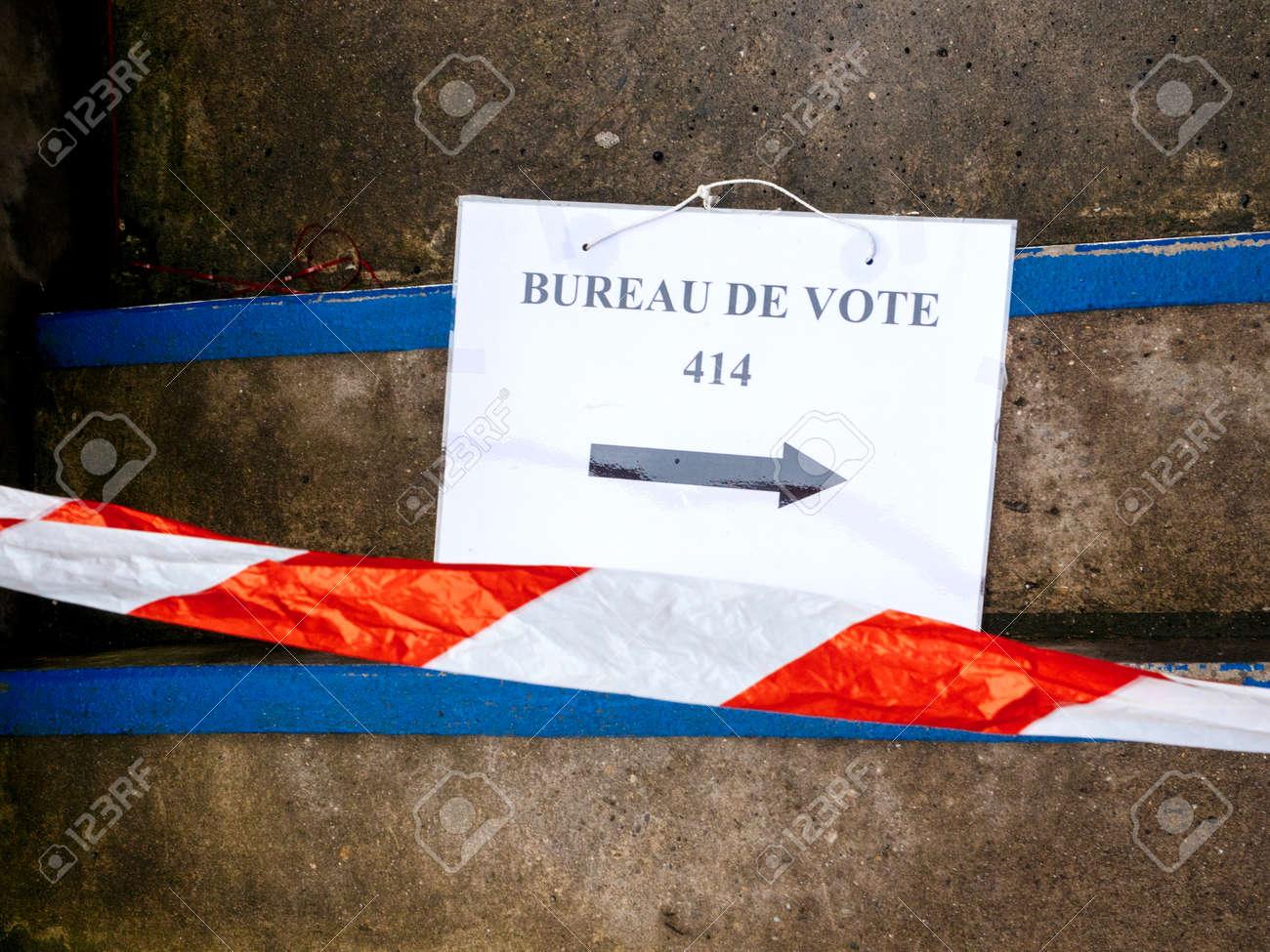 Strasbourg france may bureau de vote sign on floor