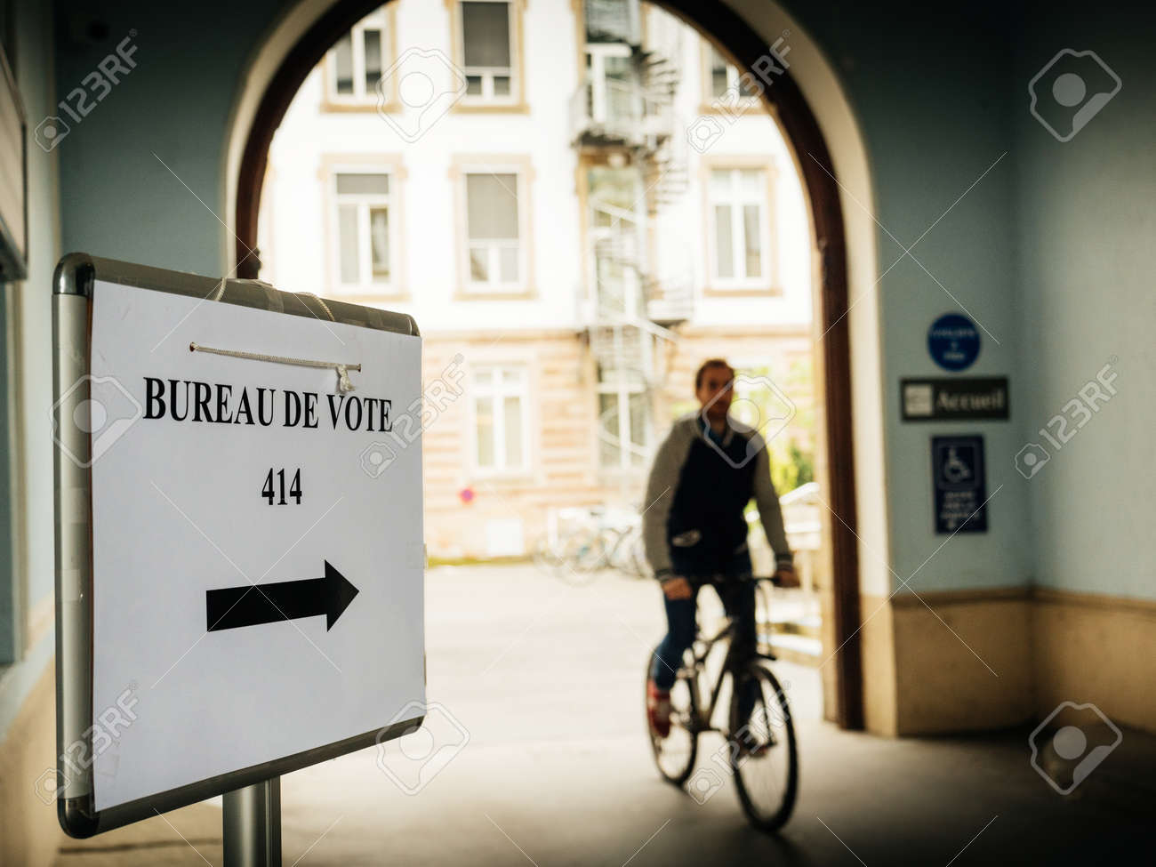 Strasbourg france may 7 2017: bureau de vote sign in french