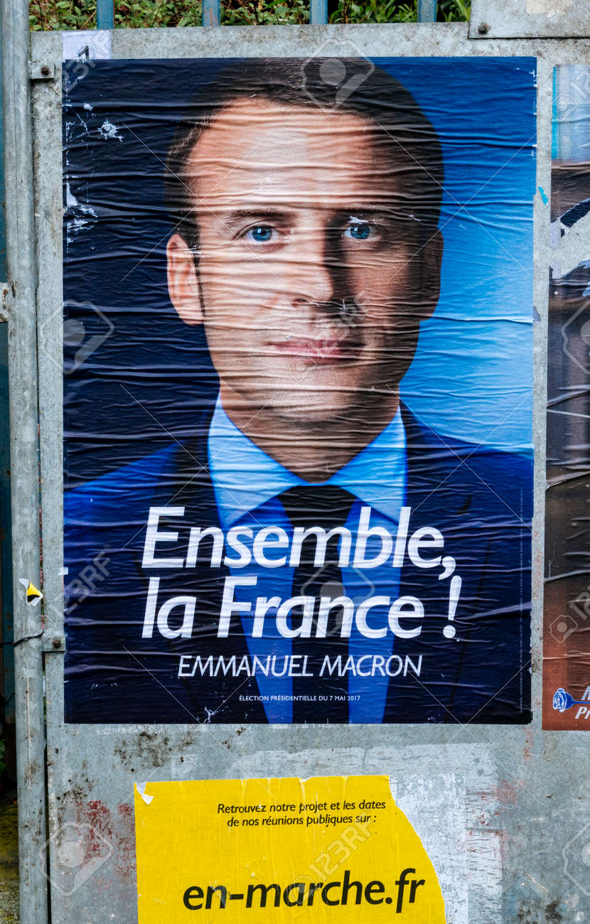 Strasbourg France May 7 2017 Emmanuel Macron Portrait Poster Stock Photo Picture And Royalty Free Image Image 77557729