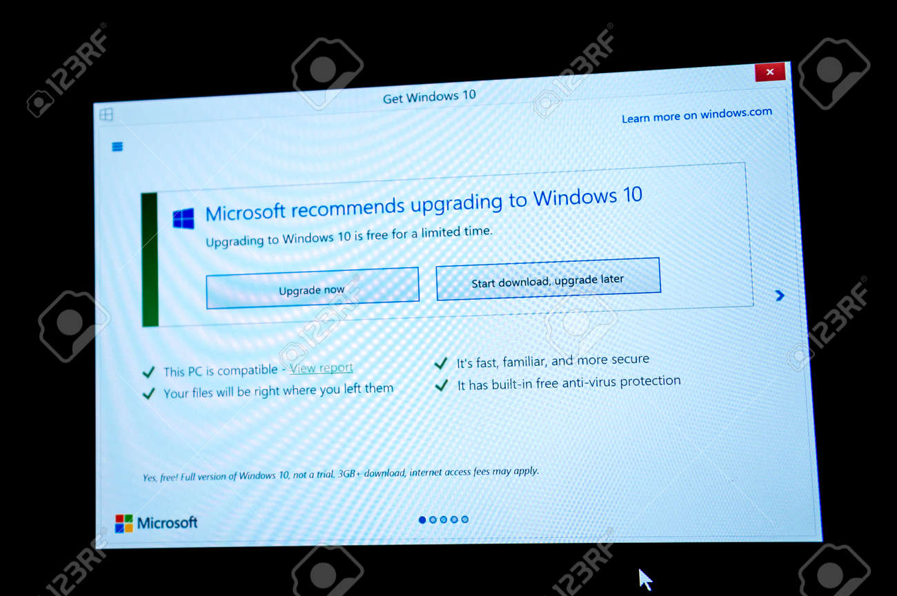 Download and upgrade latter button on microsoft windows screen.