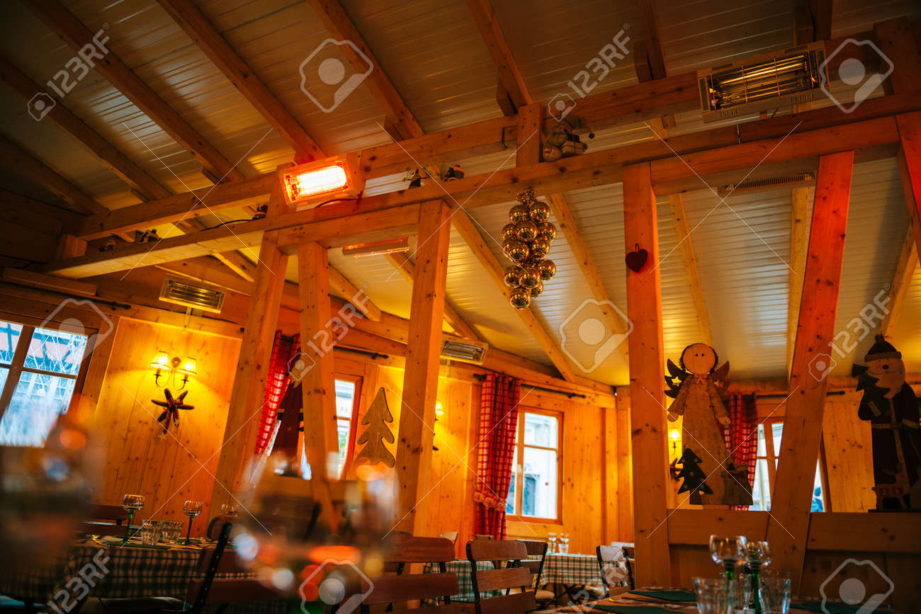 Interior Of Empty Simple Restaurant In French Village With Christmas Stock Photo Picture And Royalty Free Image Image 90208808