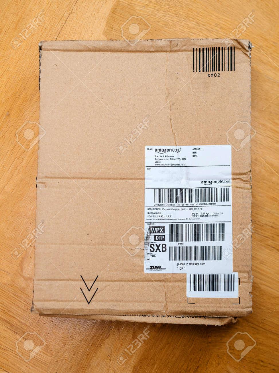 PARIS, FRANCE - APR 9, 2017: Cardboard box from Amazon co jp