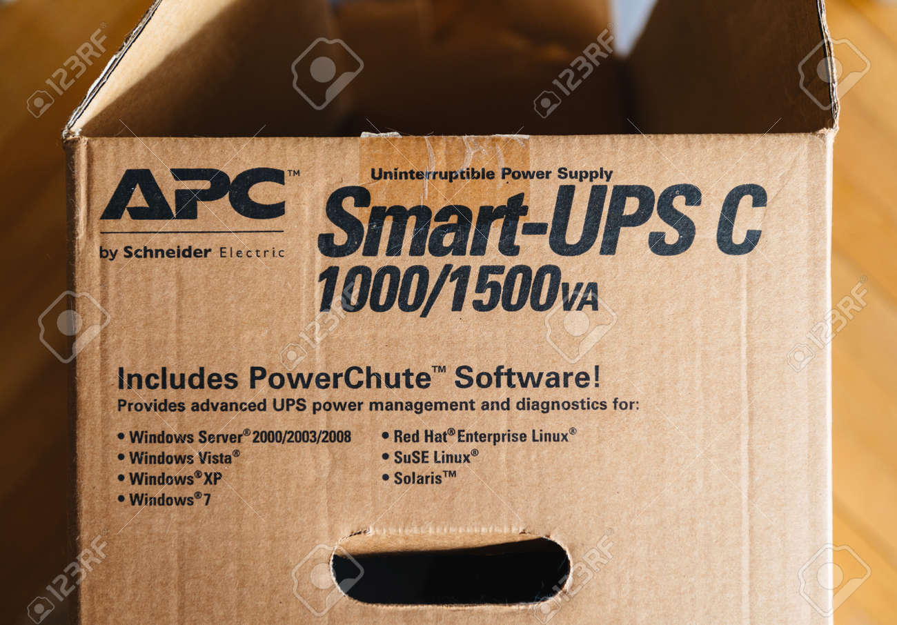 PARIS, FRANCE - MAR 29, 2018: Detail of the open box of APC Smart-UPS