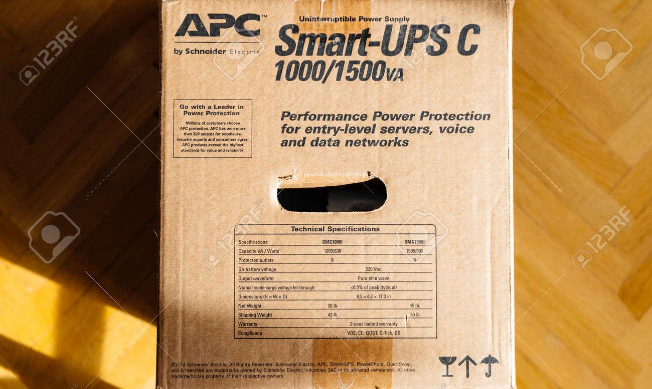 PARIS, FRANCE - MAR 29, 2018: Box of APC Smart-UPS C 1000VA LCD