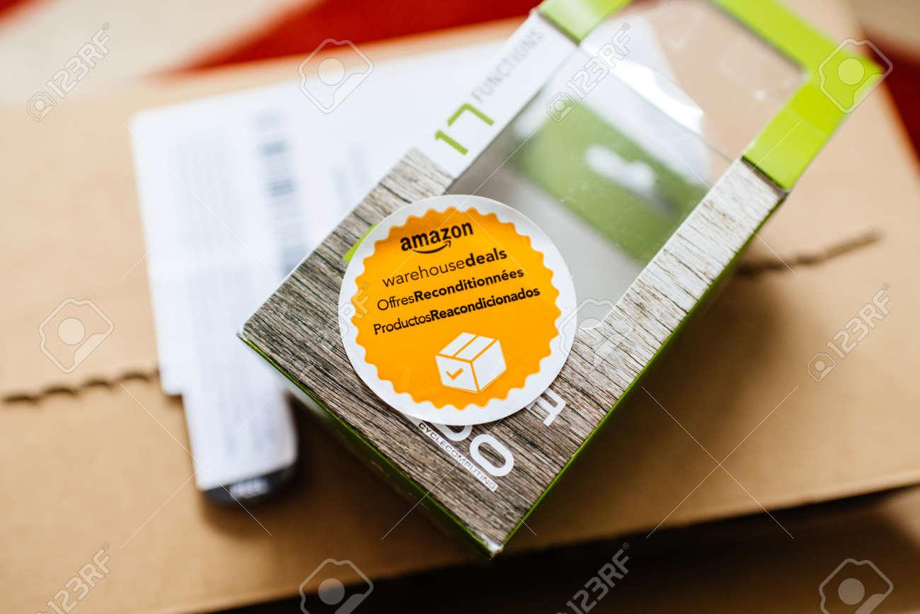 PARIS, FRANCE - APR 24, 2018: Amazon Warehouse Deals offres  reconditionnees