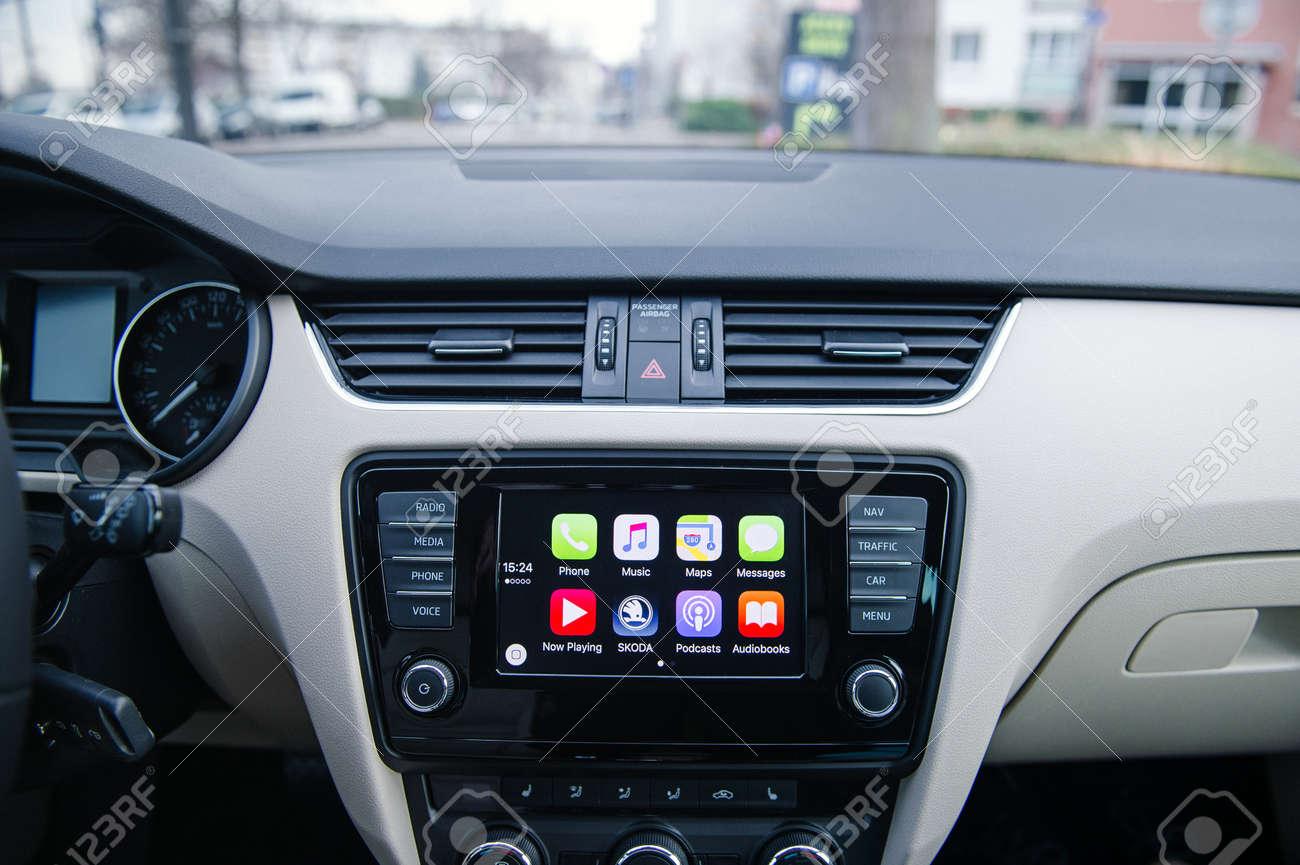 Paris France Dec 13 2016 Apple Carplay Main Screen In Modern