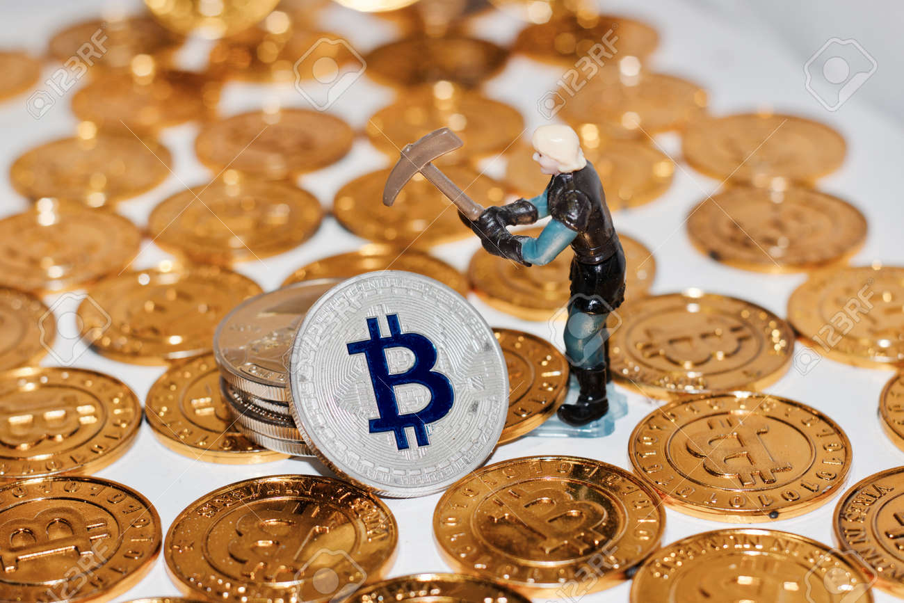 Digital Currency Physical Metal Bitcoin Coin Man Mining Bitcoins Gold Coins Stock Photo
