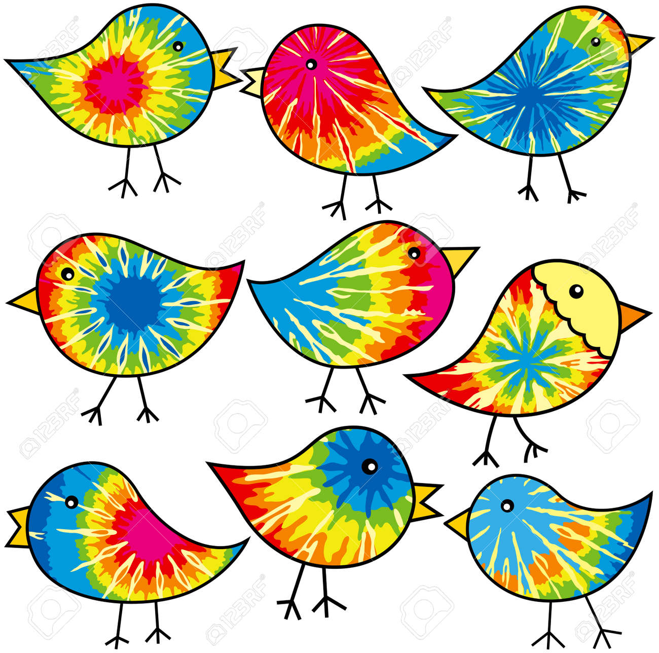 nine colorful tie dyed chicks for your designs royalty free cliparts rh 123rf com tie dye clip art free tie dye clipart