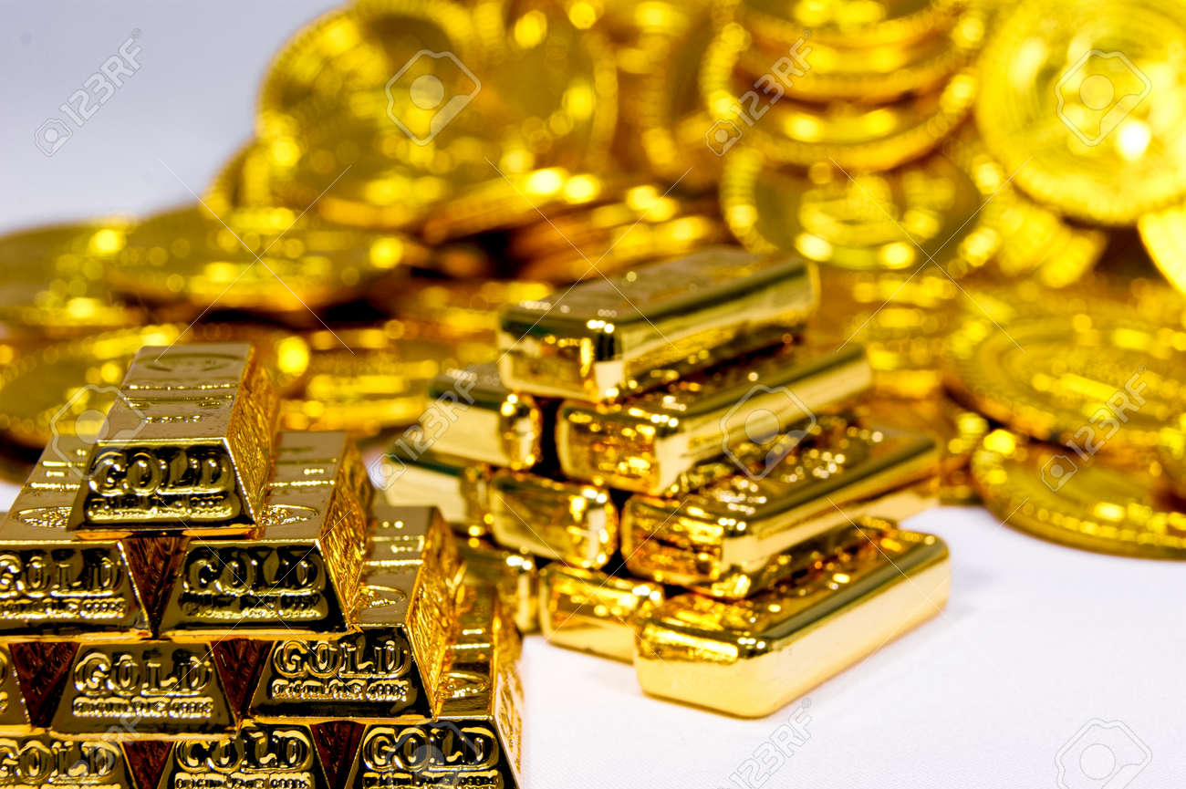 Gold bars, and coins - 57502635