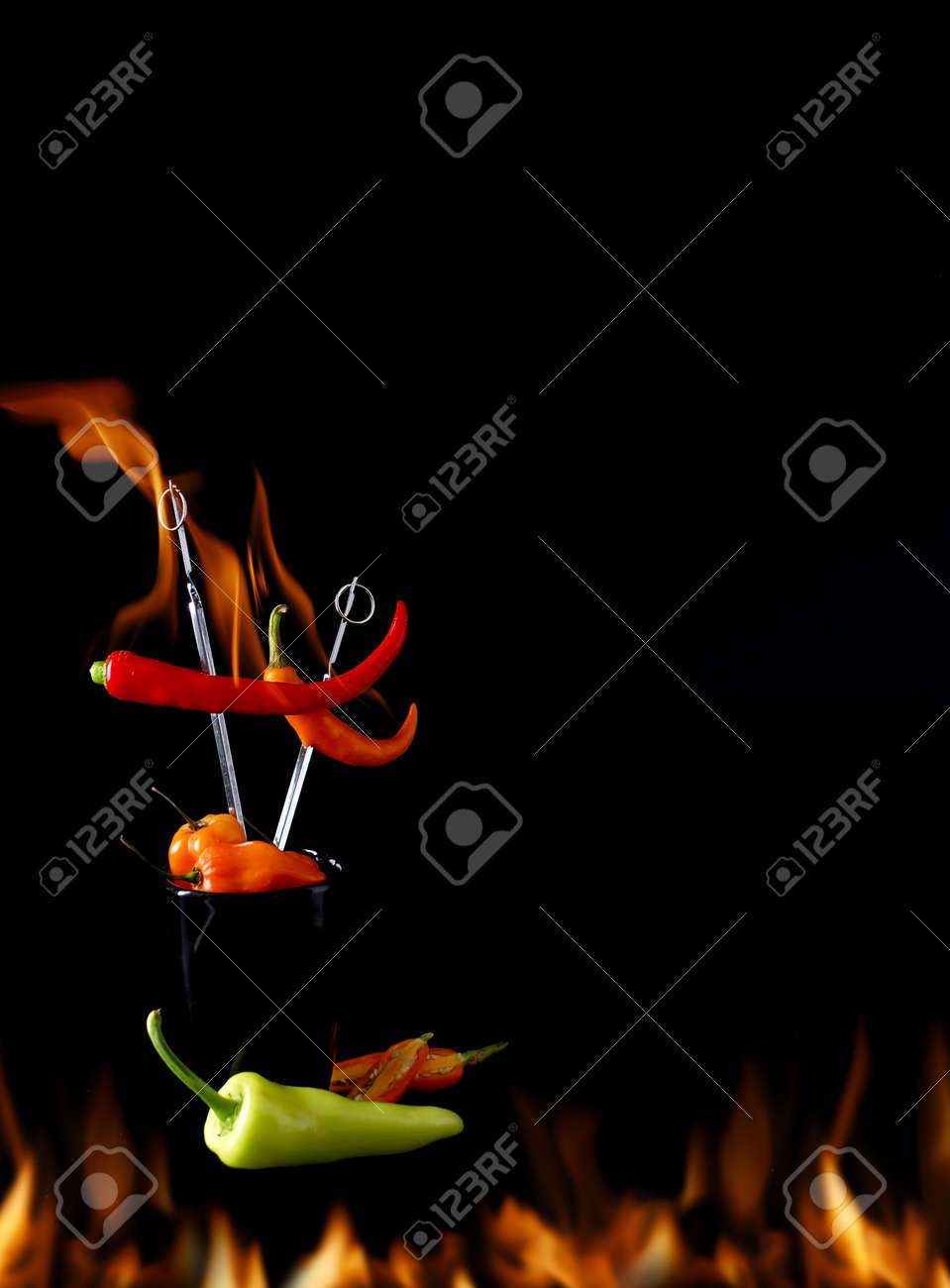Hot chili pepper fire burns Stock Photo - 17251554
