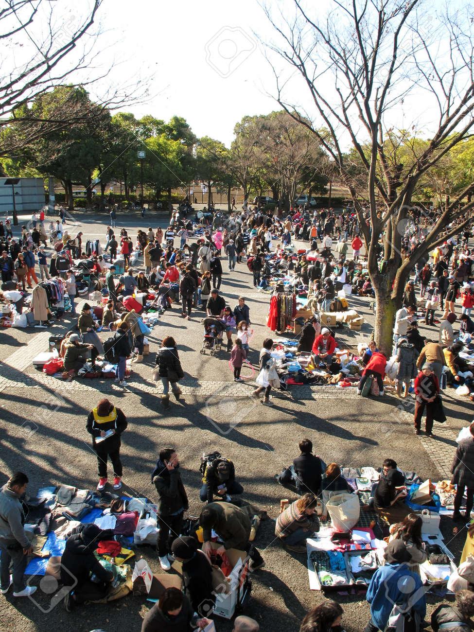 HARAJUKU,TOKYO - DECEMBER 16, 2012 - Shoppers come to flea market at Yoyogi Park in Harajuku. It is the monthly flea market in the city of fashion Harajuku. Stock Photo - 17261904