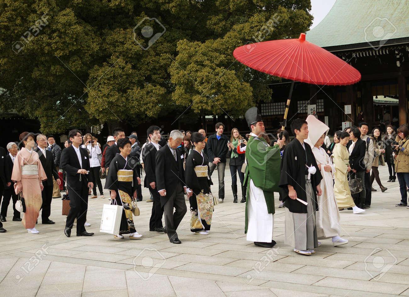 HARAJUKU,TOKYO - MARCH 25, 2012: Celebration of a typical wedding ceremony in Meiji Jingu Shrine Harajuku Tokyo, Japan. Stock Photo - 17262309
