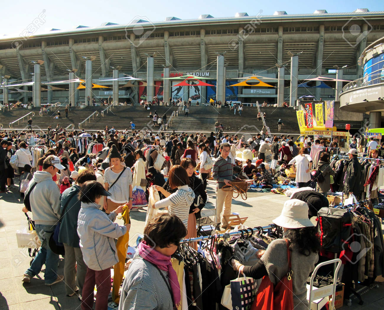 YOKOHAMA,JAPAN - NOVEMBER 4, 2012: Shoppers come to flea market at Nissan Stadium. It is the monthly flea market in Shin-Yokohama. Stock Photo - 17262305