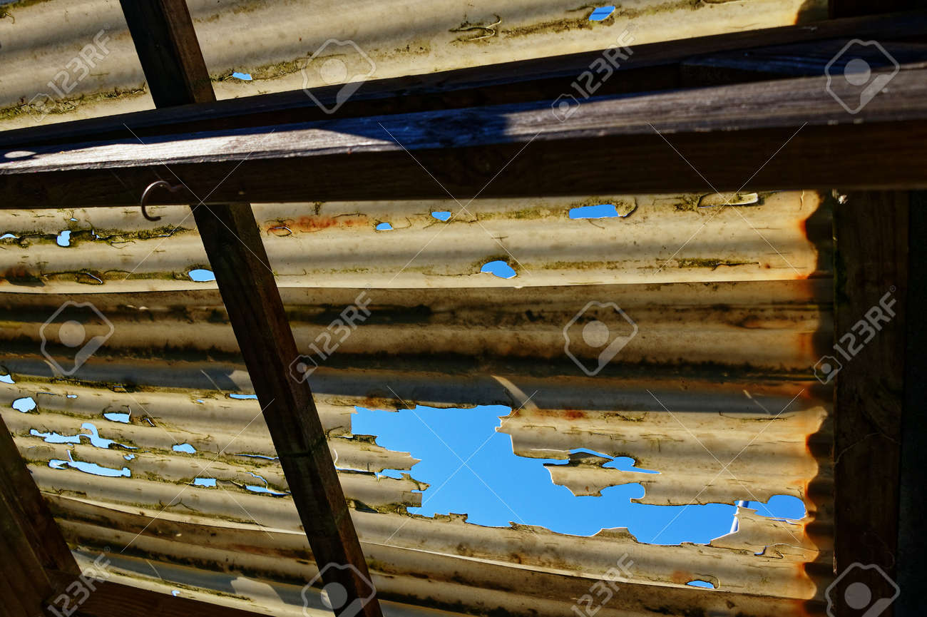 Storm Damage To A Corrugated Plastic Roof Stock Photo Picture And Royalty Free Image Image 136795316