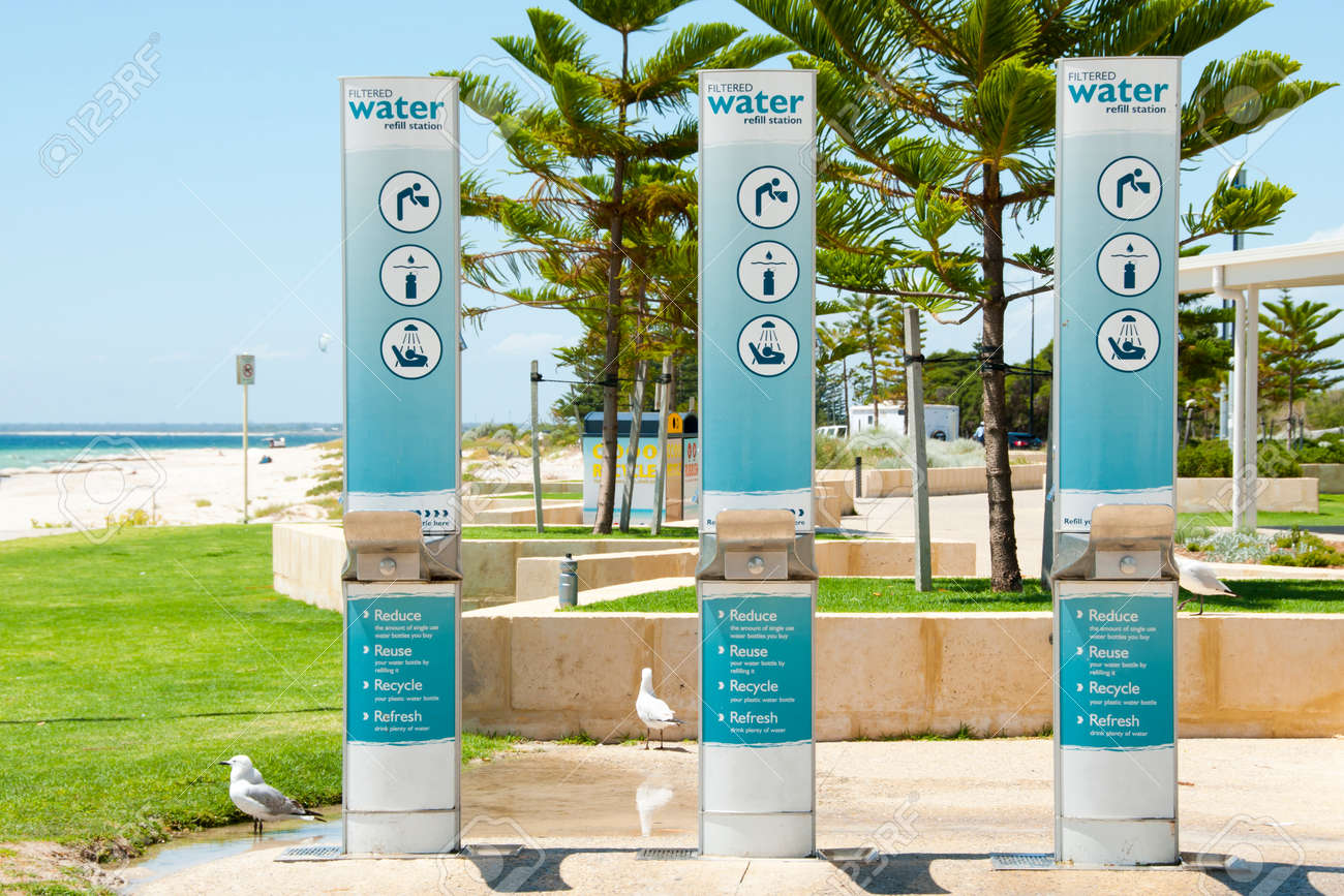 Water refill station by the beach