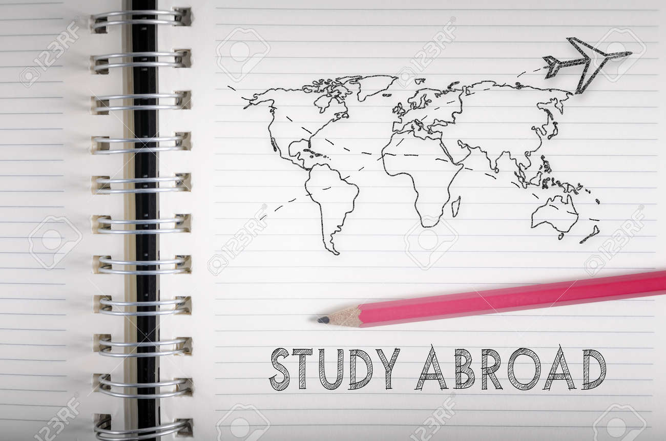 Airplane flying above world map pencil sketch on a notebook
