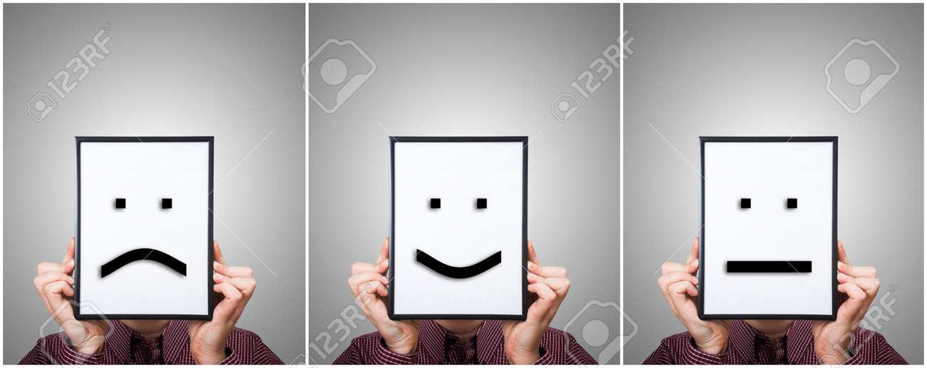 Emoticones Tristes Felices Y Neutrales En Cuadros Triptico - Cuadros-diferentes
