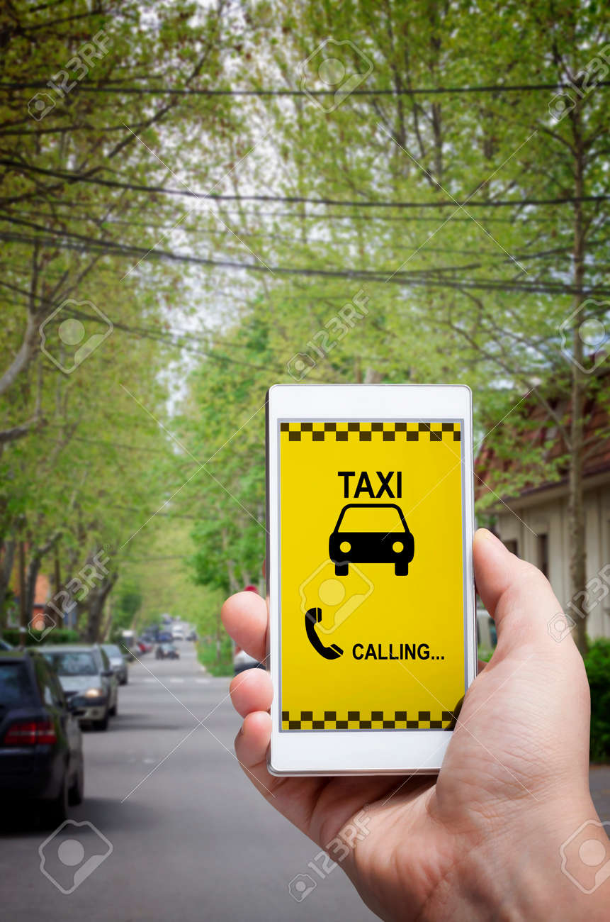Using smartphone mobile app to call taxi  Man dialing cab number