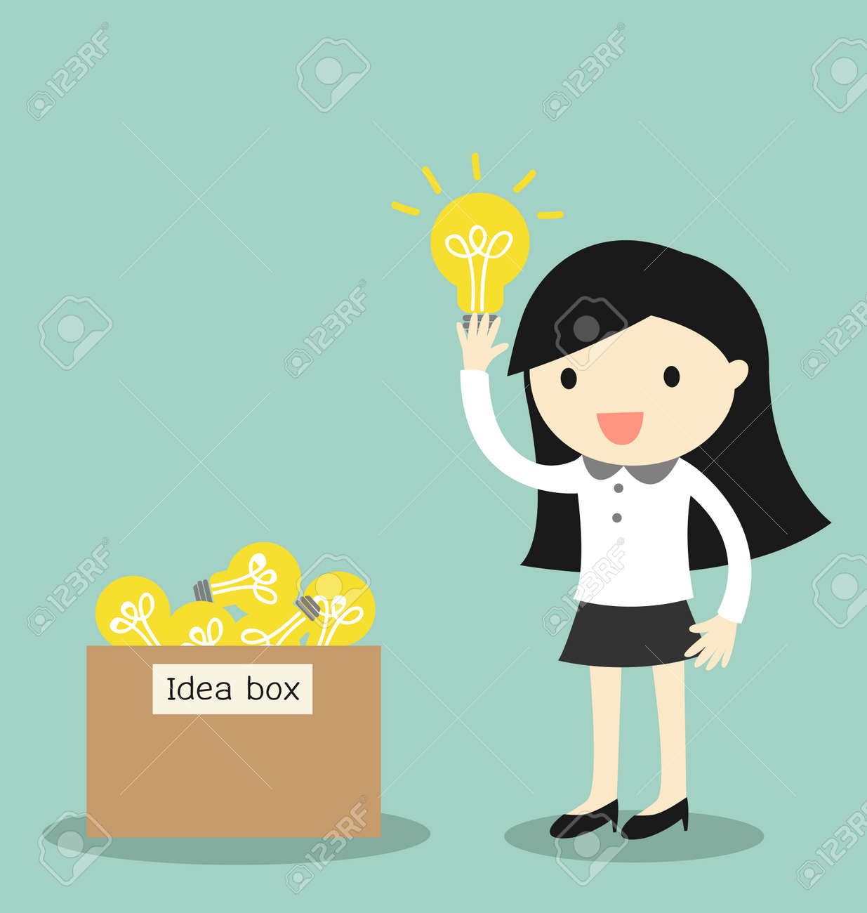 Business concept, Business woman pick some idea from idea box. illustration. - 50077463