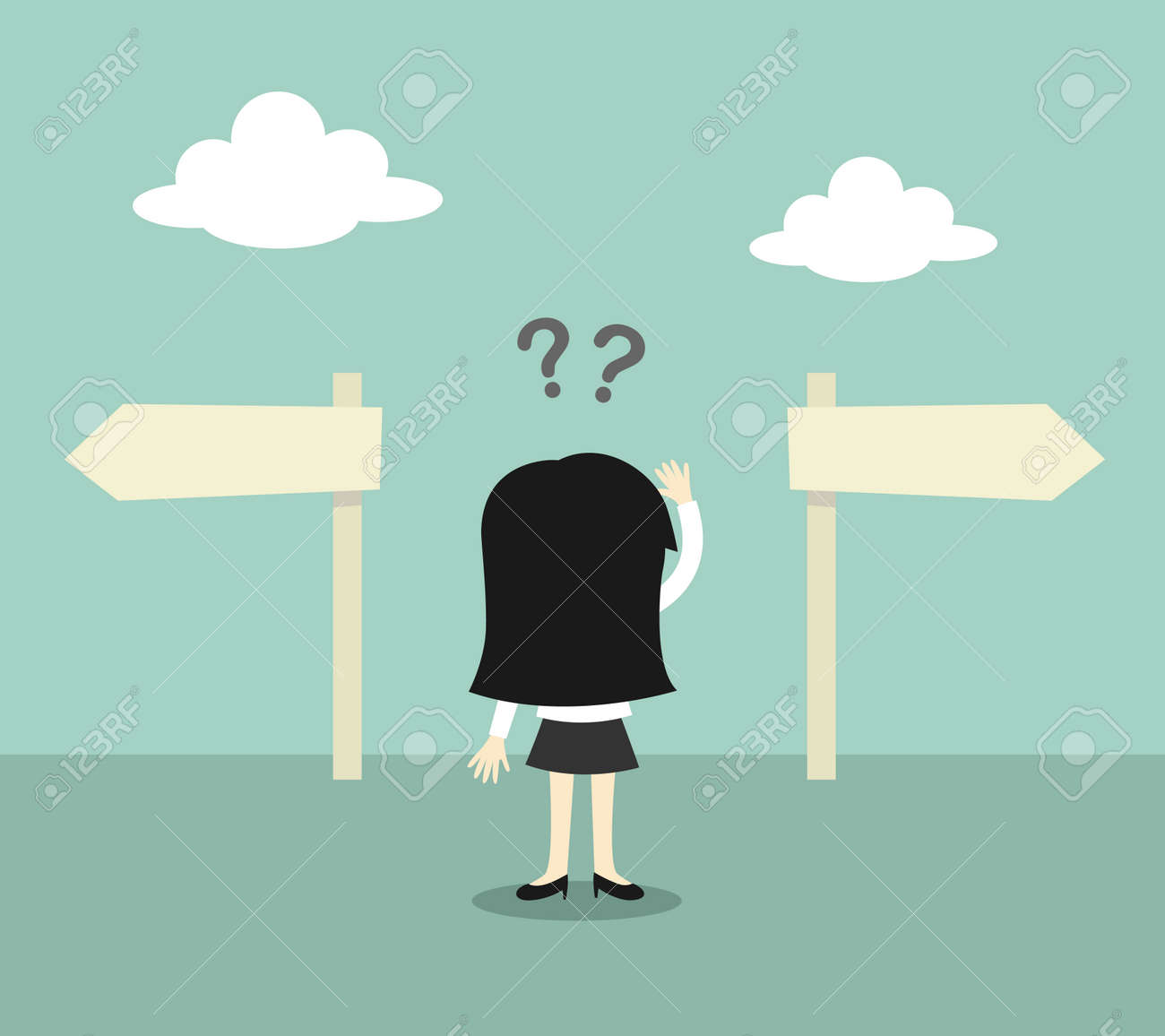 Business concept, Business woman confused about two direction. Vector illustration. - 50644603