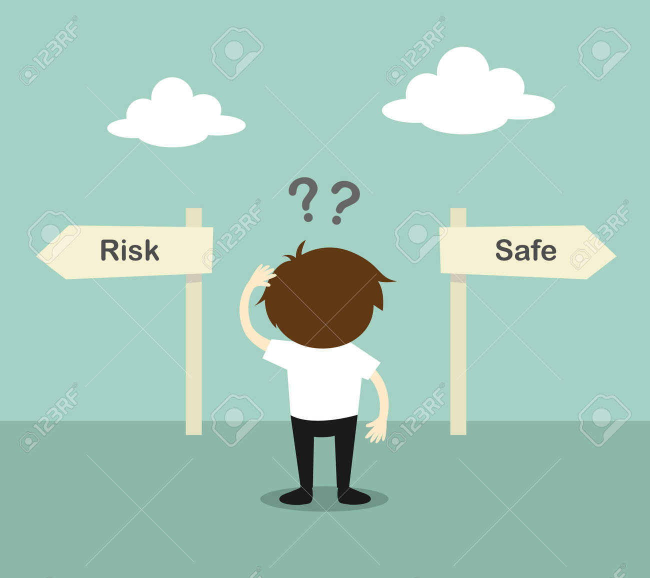 Business concept, Businessman confused about two direction, between risk or safe. Vector illustration. - 50644757