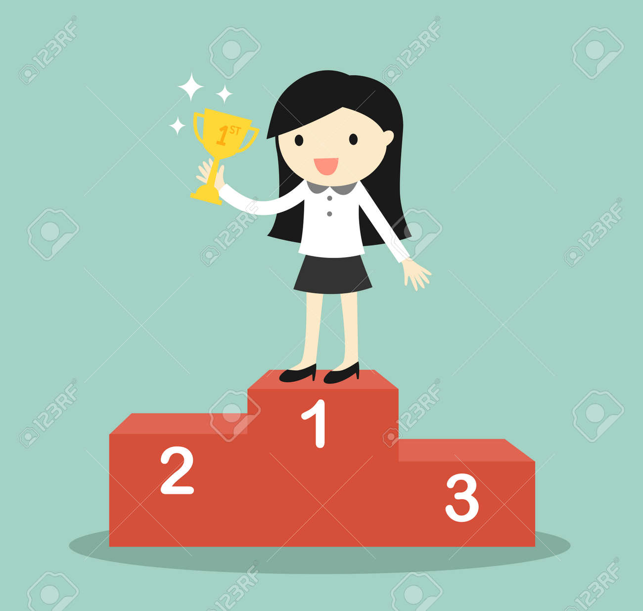 Business concept, business woman standing on the winning podium and holding trophy. Vector illustration. - 50644759