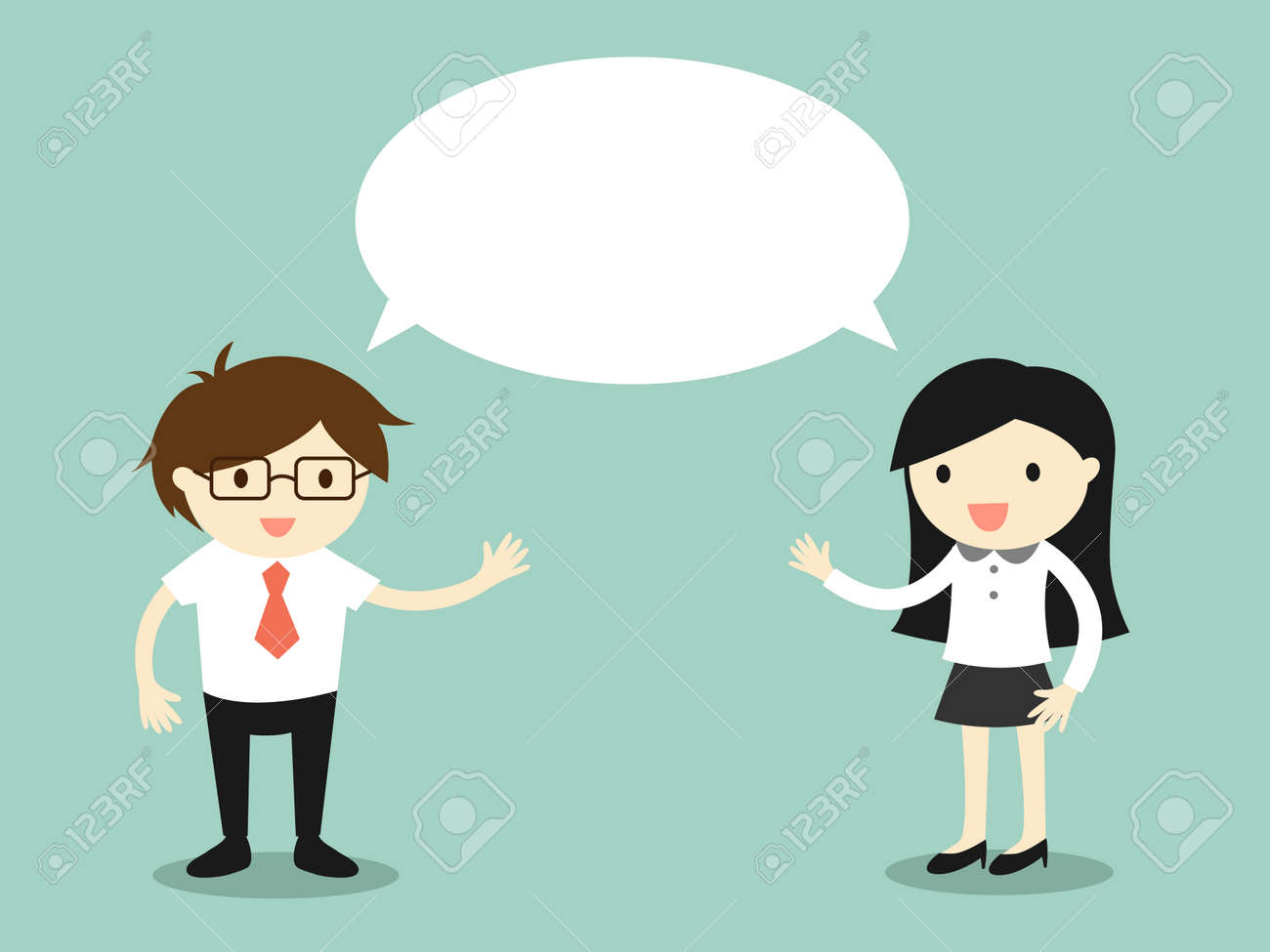 Business concept, businessman and business woman talking the same thing or same ideaconcept. Vector illustration. - 51249227