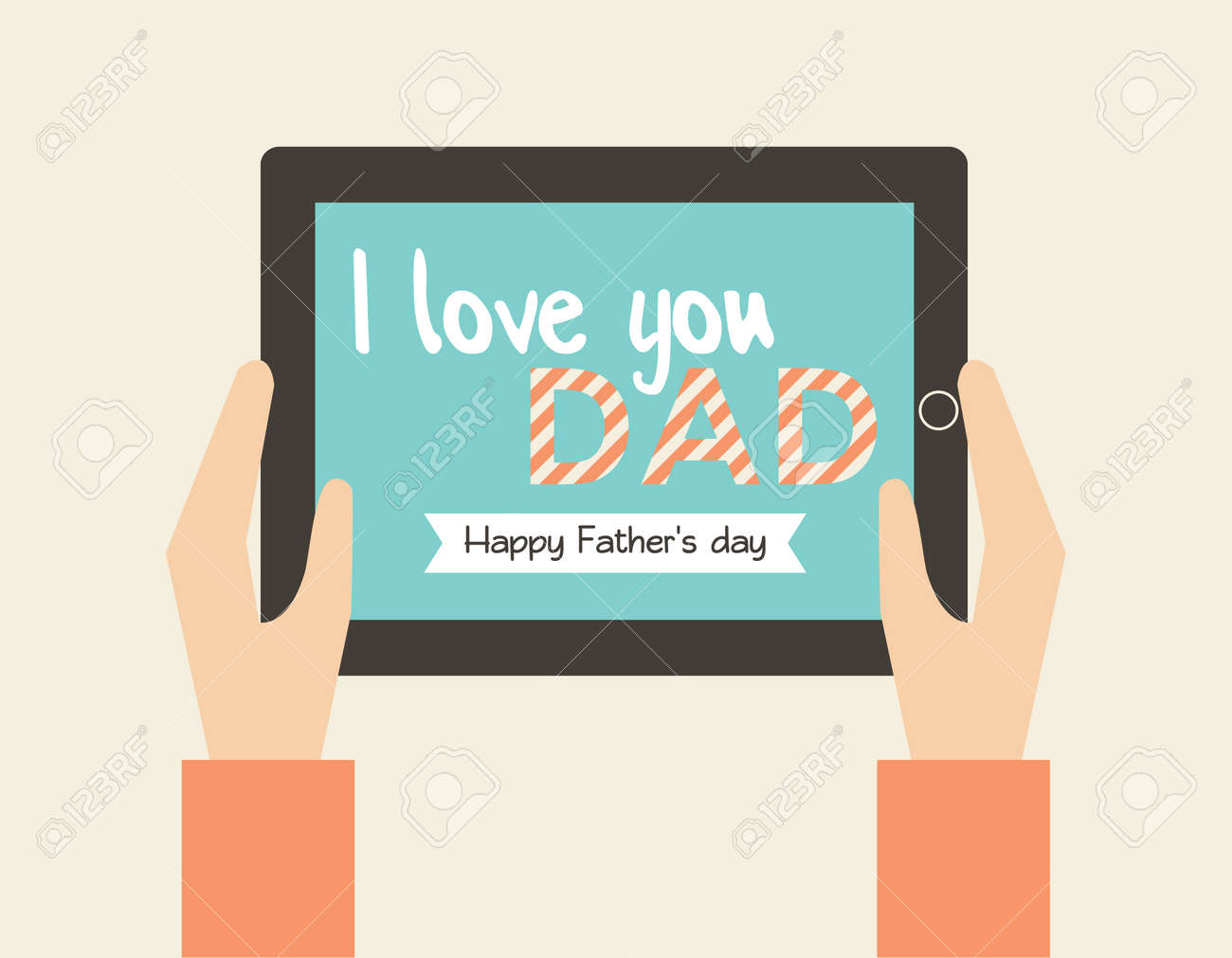 Hand Holding Tablet With Online Greeting Card Royalty Free Cliparts