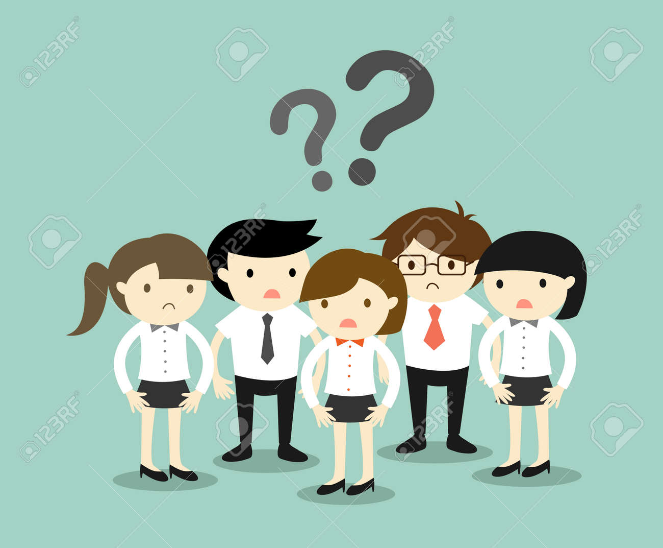 business concept group of business people feeling confused