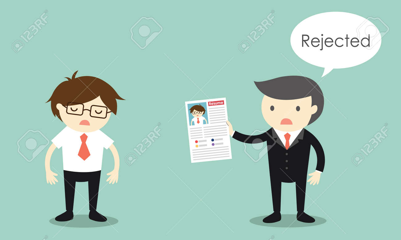 Business concept, Businessman's resume is rejected. Vector illustration. - 67302304