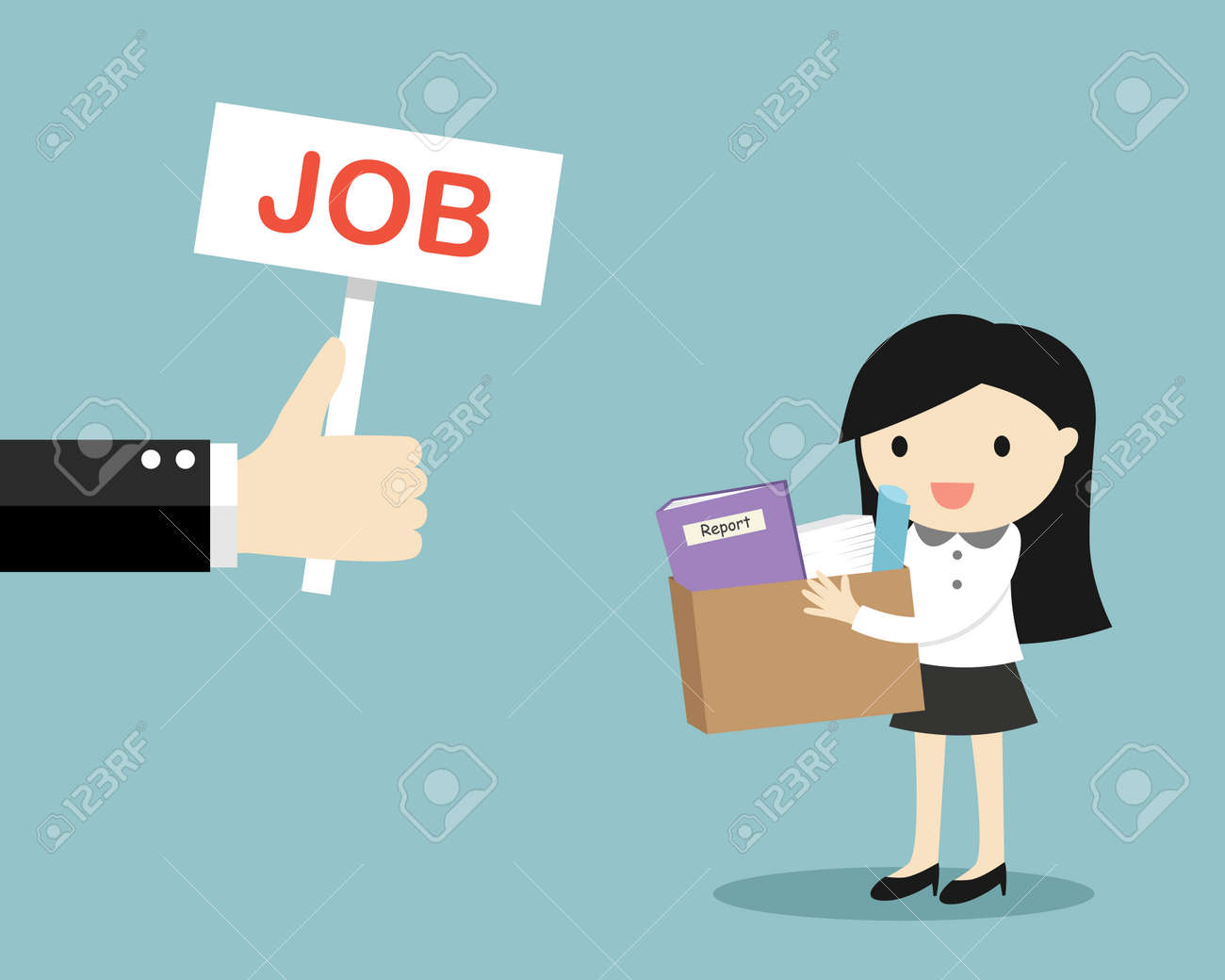Business concept, Hand offers job to business woman. Vector illustration. - 130609638