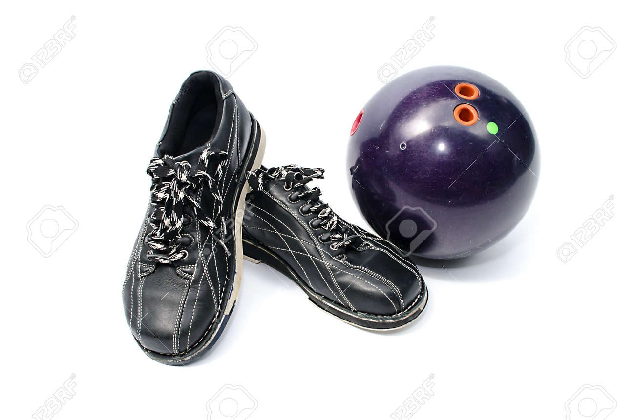 An Old Bowling Ball Purple And Black Shoes Isolated On White Stock