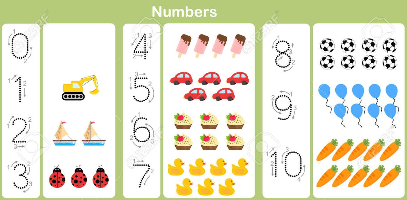 Nummer: Zählen Und Das Schreiben Von Zahlen Bis 10 Für Kinder ...