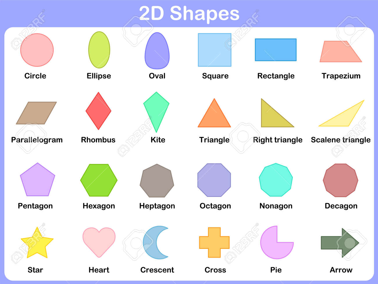 shape 2d : learning the 2d shapes for kids royalty free cliparts