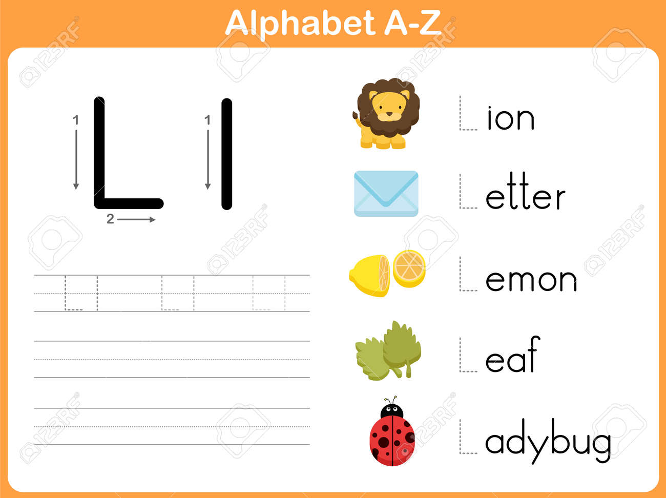 Alphabet Tracing Worksheet: Writing A-Z Royalty Free Cliparts ...