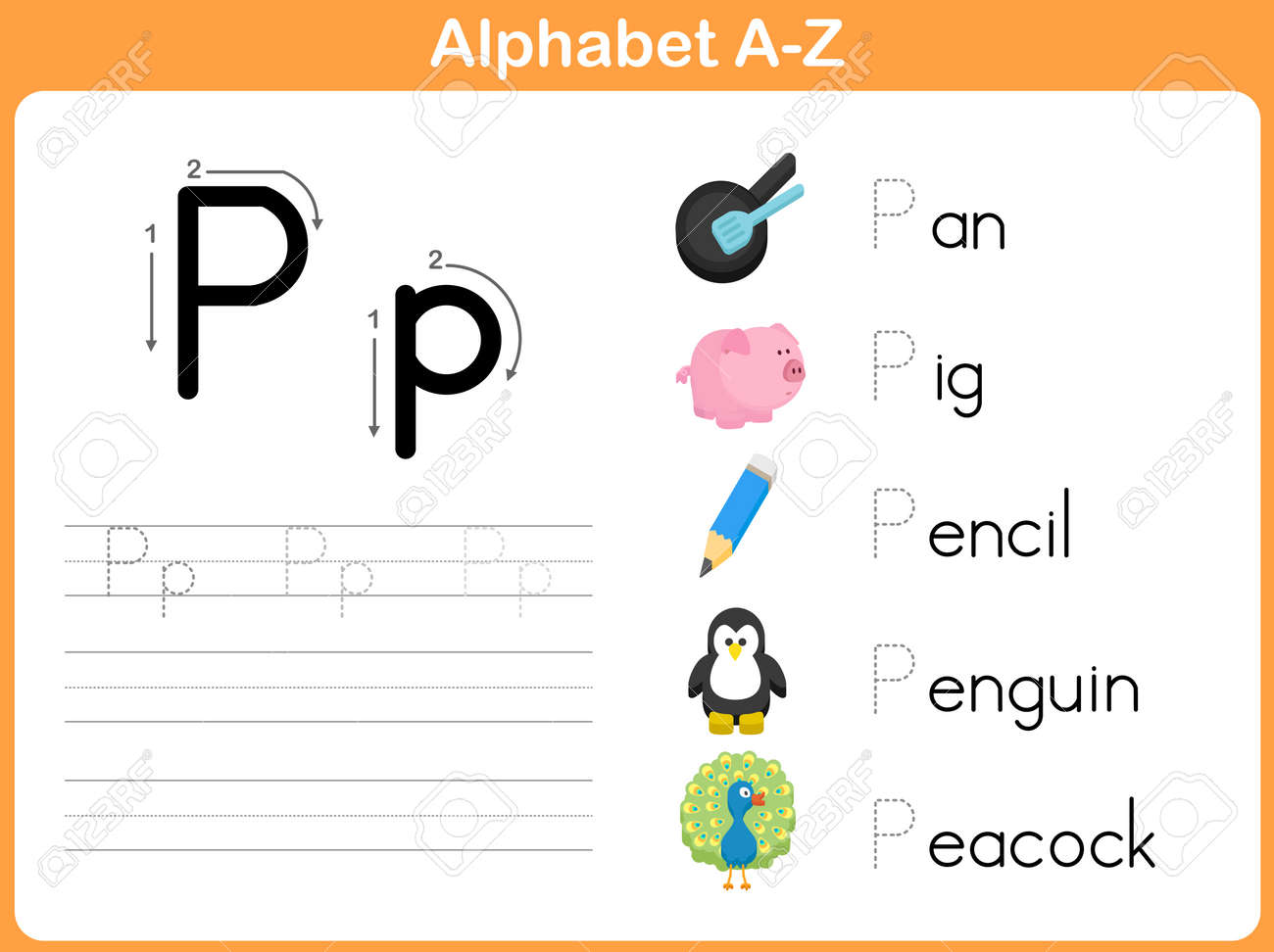 Alphabet Tracing Worksheet Writing AZ Royalty Free Cliparts – Alphabet Trace Worksheet